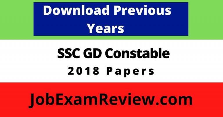 SSC GD Constable 2018 previous question paper